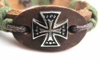 Free Shipping 50pcs/lot Fashion Cross Metal Punk Rivet Charms Leather Bracelet Bangle Wholesales