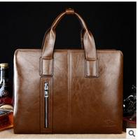 Men's leather business briefcase new male shoulder bag portable business laptop bag