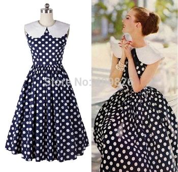 50s vintage audrey hepburn style dark blue white polka dot swing dress