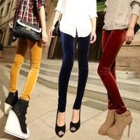 2014 autumn and winter newest fashion women velvet leggings nine points pants 14 colors