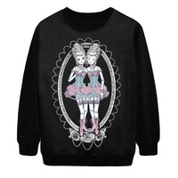 Women Gothic guard garments twins Princess digital printing Halloween rock style hedging casual cotton hoodies sweatshirt P261