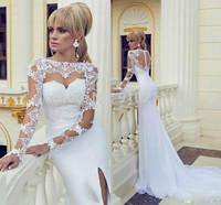 Captivating High Neck Long Sleeves Chiffon Chapel Train Lace Mermaid Wedding Dresses