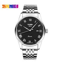 SKMEI Luxury Brand Men Quartz Watch 30m Waterproof Full Stainless Steel Male Clock Casual Watches with Calendar Men Wristwatches