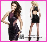 Alluring 2015 Bodycon Black Party Dress Short Cocktail Dresses Sequins Sexy Vestido De Noiva Curto Jewel E6126