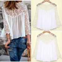 2014  Fashion Summer Women Fashion Casual Lace Shirts Chiffon Blouses T Shirt Tops cloth013