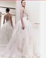 2014 Zuhair Murad Wedding Gown Ball Gown Scoop Cap Sleeve Exquisite Lace Ruffles Tiers Wedding Gowns Custom Made