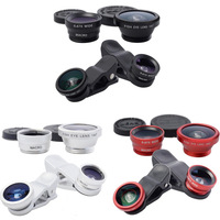 Phone Lens Fish Eye,  Macro, Wide Angle 3 In 1 Universal Clip Mobile Phone Lens for iphone 4S 5S Samsung I9300 All Smart Phone