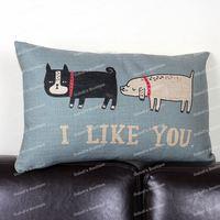 Cute Funny Puppy Dogs I Like You Animal Print Retro Cotton Linen Throw Cushion Cover Home Decor Sofa Lumbar Pillow Case 30x50 cm