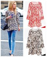 new fashion spring autumn cotton plus size vintage porcelain print women casual blusas femininas long t shirt women blouse 2015