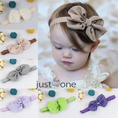 Baby Girls Toddler Fashion Soft Chiffon Big Bowknot Hair Bow Headband Hairband(China (Mainland))