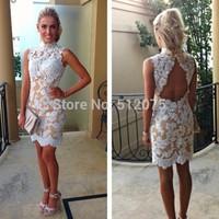 Charming Elegant 2014 New Sheath Design Free Shipping Appliques Open Back Natural Short Prom Dresses New Arrival