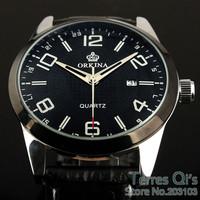 Orkina Quartz Watch Men Day Black Leather Wristwatch Stop Watches Free Ship