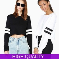 Winter Autumn Sweatshirt 2014 New Fashion Full Striped Sleeve Short Tracksuit Crop Top Pullover Casual Women Tracksuits Suits