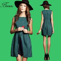 Ladies Work Dress  Vestido De verao 2014 Slim Womens Casual Sleeveless Check Dress Mulheres de Vestido