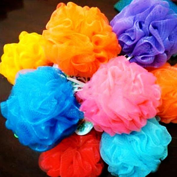 Colorful flowers bath ball bath towel scrubber Body cleaning Mesh Shower wash Sponge Bath product tool(China (Mainland))