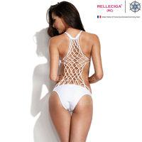 B335 Latest Fashion White Color One piece Swimwears with Totally Handmade Lattice Back Women Monokini Bathing Suit 2014 Hot New