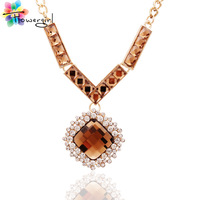 Wholesale New Design 2014 18K Gold Plated Chic Choker Necklaces Women Statement Pendant Necklace [T219]