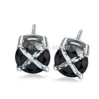 GNE0991 Free Shipping Pure 925 Sterling Silver Earrings Fashion Silver Jewelry 5MM Black Agate Stud Earrings For Women 1.2g