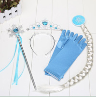 Frozen princess crown magic wand braid gloves 4pcs/set