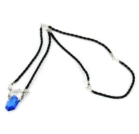 Unisex Cosplay DMC Devil May Cry 5 Dante Vergil Blue Acrylic Resin Crystal Pendant Necklace PU Leather Chain Cord