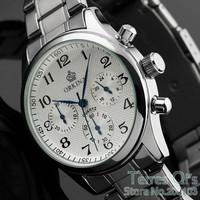 New 2014 Orkina Watch Quartz Watches Men 6 Hands Watch Wristwatch Free Ship