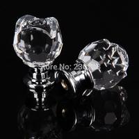 7PCS 20mm Clear Crystal Rose Flower Shaped Glass Kitchen Pulls Furniture Ceramic Handle Drawer Pulls Door Knobs Kitchen Cabinets