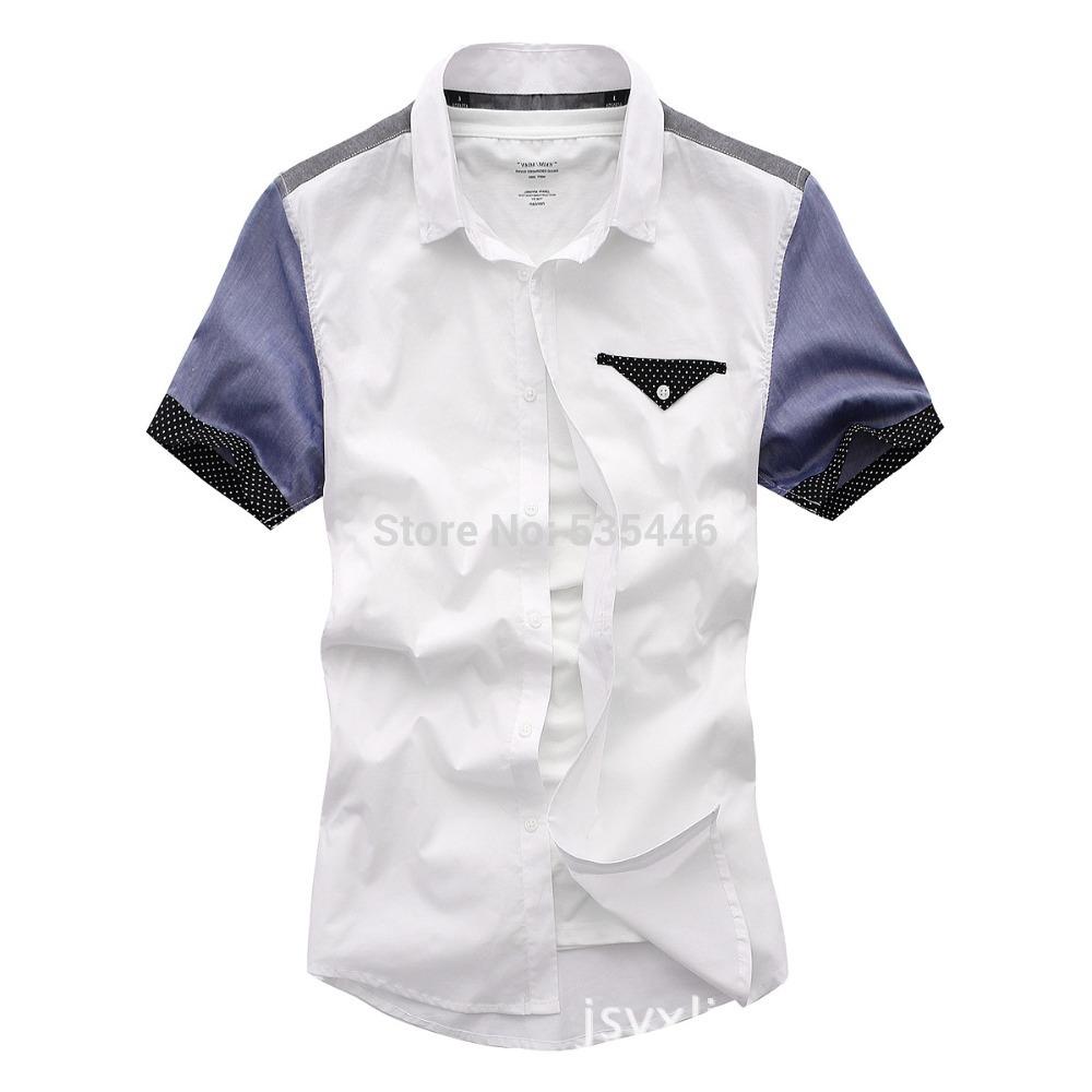 Man spring 2014 mens dress shirts British fashion Shirt slim fit short sleeve white shirt roupas camisa masculina