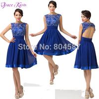 2014 Elegant Grace Karin A-line Lace Chiffon Wedding Party Ball Robe De Cocktail Gowns Celebrity Prom Dresses Royal Blue CL6132