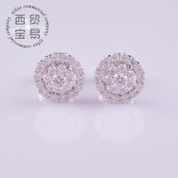 Fashion 2014 AAA Cubic zircon luxury shiny flower rhinestone ladies women earings in jewelry free shipping ED002