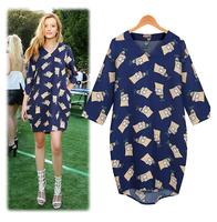 2014 New Fashion Autumn and Winter Dress Half-Sleeve V-neck Print High Quality Women Dress Free Shipping