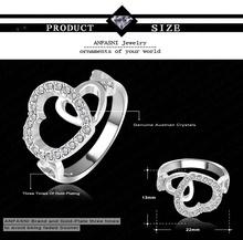 Birthday Gift Real Platinum Plated Engagement Ring Genuine SWA Stellux Austrian Crystal Love Wedding Ring Ri
