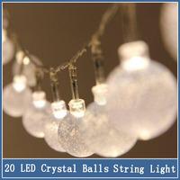 1x 2m 20 LED Pendant String Light Battery Waterproof Crystal Balls Bubble Christmas Wedding Decoration Luminary Twinkle Strip