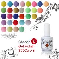 6pcs 15ML,233 color gel nails polish  accept wholesale gel nails
