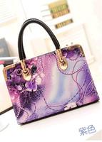 Top Quality New Design Vintage Oil Painting Handbag Elegant Lady Shoulder Bag Rose Pattern Women Bags Purple/Black/Brown
