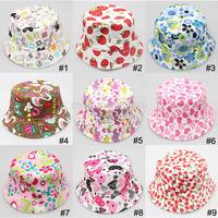 Free shipping 5pcs/lot Spring autumn kids new flower print bonnet baby child bucket hats girls boys sun beach cap canvas sunhat
