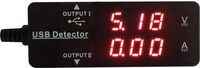 KW-203 Red color LED Dual Display Universal Type DC USB detector Charging 3.2-10V 0-3A Voltage Current Ampere Panel Meter KW203