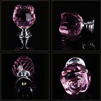 7PCS 20mm Pink Rose Flower Shaped Glass Kitchen Pulls Ceramic Handle Drawer Pulls Knobs Kitchen Cabinets Crystal Drawer Knobs