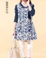 free shipping ! 2014 female casual A-line dress girl's loose cotton linen print mini dress women's autumn oversize clothing