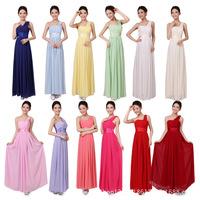 2014 ladies latest fashion modest chiffon bridesmaid dress with one shoulder 12 color XS-XXXL