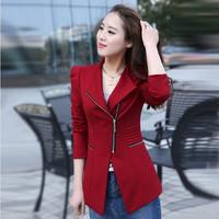 2014 New Designer Women Long Sleeve Slim Zipper Jacket Ladies Elegant Blazer Coat Jackets Female Coat Casacos Femininos C595A9S