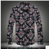 2014 autumn new mens dress shirts Korean Slim Fit long-sleeved shirt casual dress flowers linen casual-shirt SIZE:M-5XL