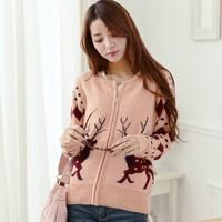 2014 new The Christmas deer ladies knit cardigan sweater Sweet long sleeve sweater Christmas gift