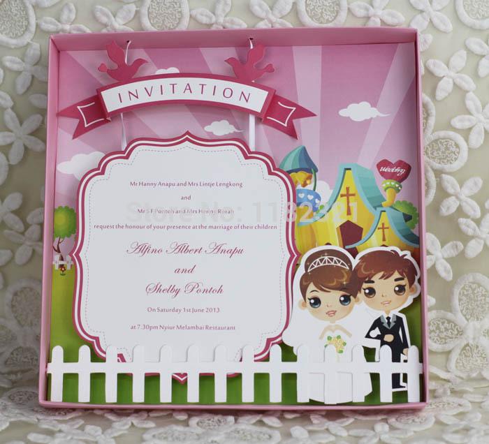 New Coming ! 3D Cartoon Box Wedding Invitation Card Birthday Invitation --E486(China (Mainland))