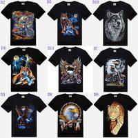 Newest Black Men Cotton Short Sleeve Print Wolf/eagle T-shirt 3d T Shirt Fashion Rock Roll Loose Plus Size XXXL NT20
