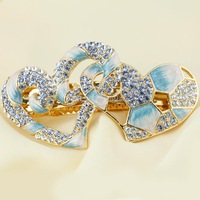 Wholesale - Chinese Cloisonne Enamel Love Heart Hair Accessory Barrettes Austrian Crystal Rhinestone Hairpins 18k gold plated Je