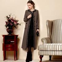 TWODS 2014 new women's long wool winter coats woolen overcoat rough wool woollen tassel edge Sequins o neck two pocket outwear