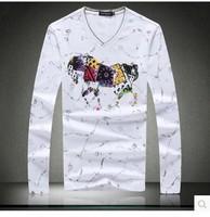 free shipping top quality mens t shirts fashion 2014 man brand long t-shirts ys tshirt cc camisa tee louis men shirts 5XL