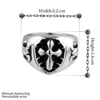 New Arrival statement rings for men fashion men jewelry punk style rock cross ring 316L stainless steel ring US size 7/8/9 YR020