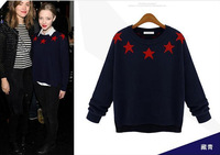 Star Printed Sweaters Women Fashion Stars Knitted Pullover Long Sleeve O-neck Casual Sweater Knitwear M8090