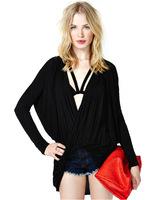 2014 new European flip fold cross deep V long-sleeved T-shirt female loose money